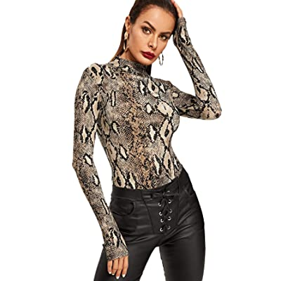 MAKEMECHIC Women's Pullover Leopard Tops Bodysuit Long Sleeves Jumpsuit: Clothing