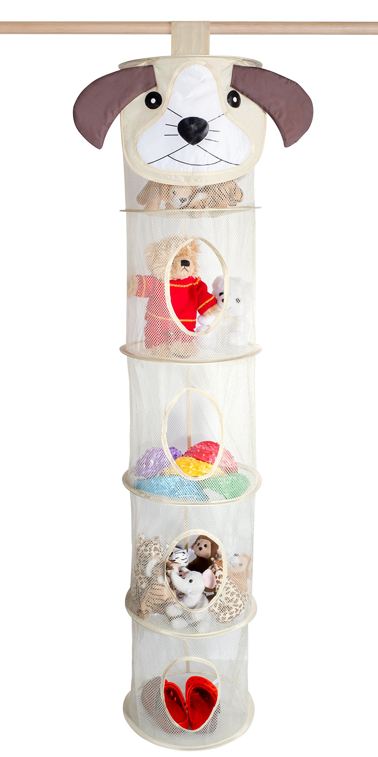 5 Tier Storage Organizer - 12'' X 59'' - Hang in Your Children's Room or Closet for a Fun Way to Organize Kids Toys or Store Gloves, Shawls, Hats and Mittens. Attaches Easily to Any Rod. (Dog)