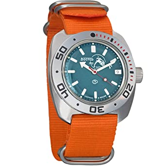 Amazon.com: Vostok Amphibian Scuba Dude Mechanical Wrist Watch Blue and Black Dials (710059, Tricolor): Watches