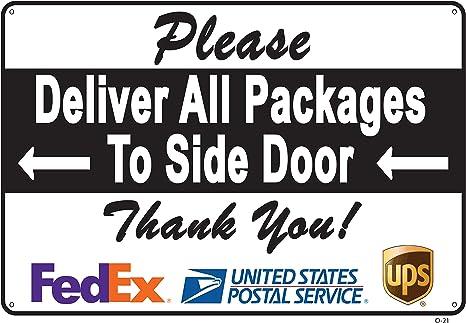 Amazon.com: Cartel para puerta lateral con texto en inglés ...