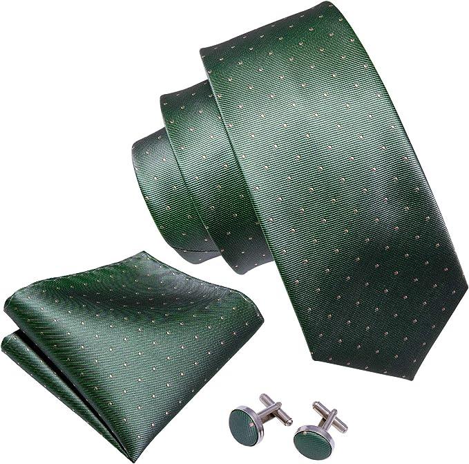 Barry.Wang Juego de corbatas de seda, gemelos cuadrados de ...