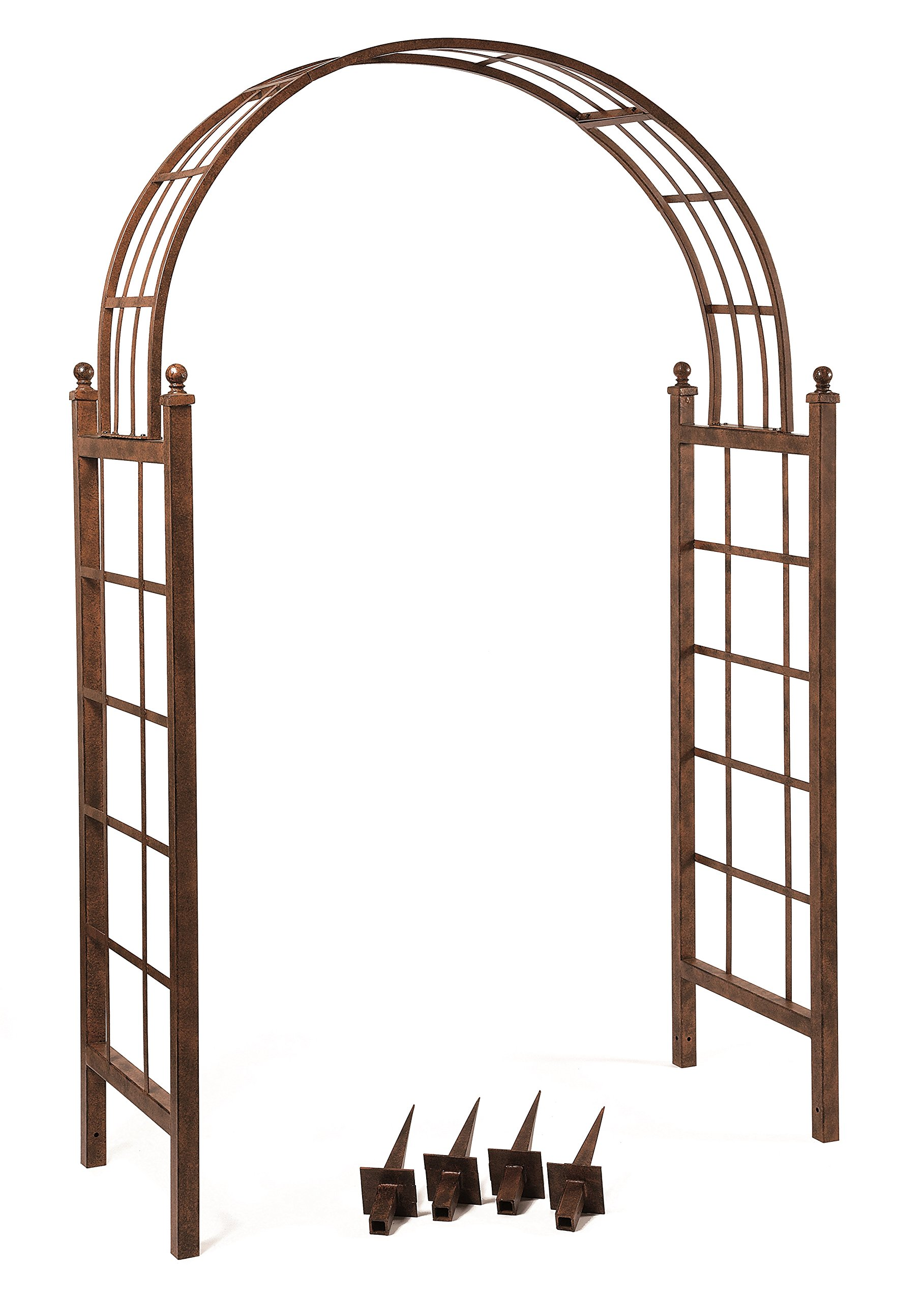 Deer Park AR114 Lattice Arch, Natural Patina, 87''H x 53''W x 23''D, Ground Stakes Included