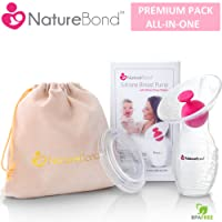 NatureBond Silicone Breastfeeding Manual Breast Pump Milk Saver Suction | BONUS Pump Stopper, Cover Lid, Pouch, Air-Tight Vacuum Sealed in Hardcover Gift Box. BPA Free & 100% Food Grade Silicone