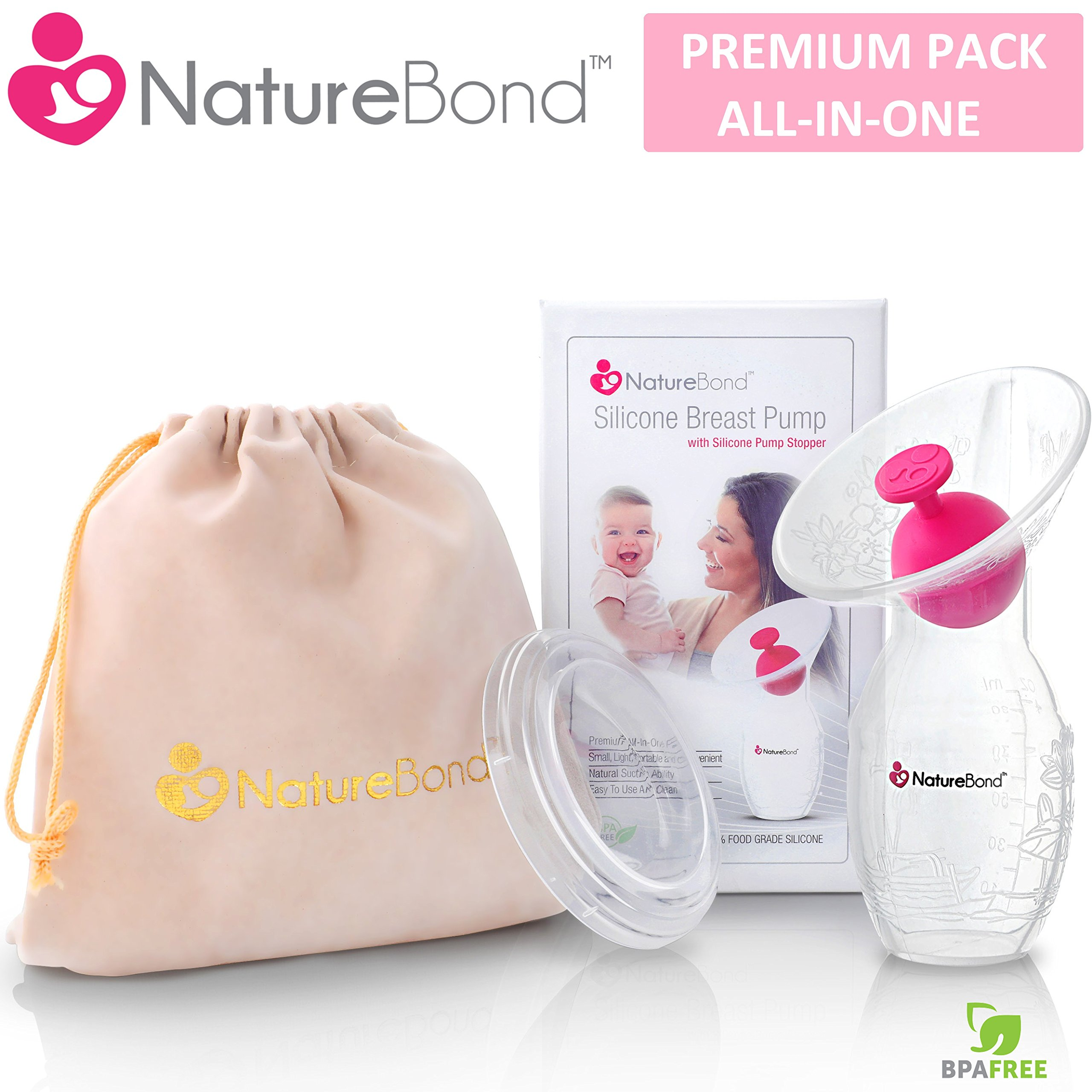NatureBond Silicone Manual Breast Pump Breastfeeding Milk Saver Suction | BONUS Pump Stopper, Lid, Pouch, AirTight Vacuum Sealed in Hardcover Gift Box. BPA Free & 100% Food Grade Silicone