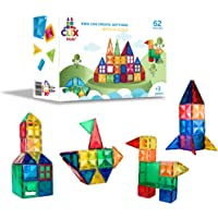 Clix-tiles magnetic building blocks toy | set of 62 pieces colorful diamond tiles for kids | open ended toy educational…