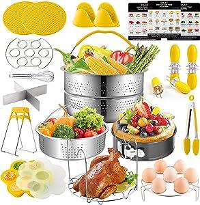 EPLST 24 Pieces Pressure Cooker Accessories Set Compatible with Instant Pot 6/8Qt-Steamer Basket, Springform Pan, Steamer Rack Trivet, Egg Bites Mold, 2 Rack, Kitchen Tongs, 3 Cheat, 6 Barbecue Forks