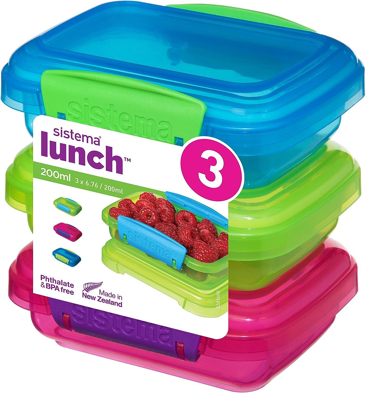 4 Verde//Azul//Rosa Sistema Almuerzo Comida Contenedor de almacenamiento con clips en contraste