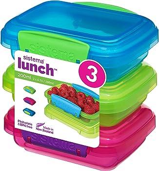 Sistema para el Almuerzo recipientes de Almacenamiento de Alimentos con Contraste Clips