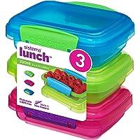 Lot de 3 boîtes à déjeuner Sistema avec fermeture par clips en contraste, vert/rose/bleu, 200ml