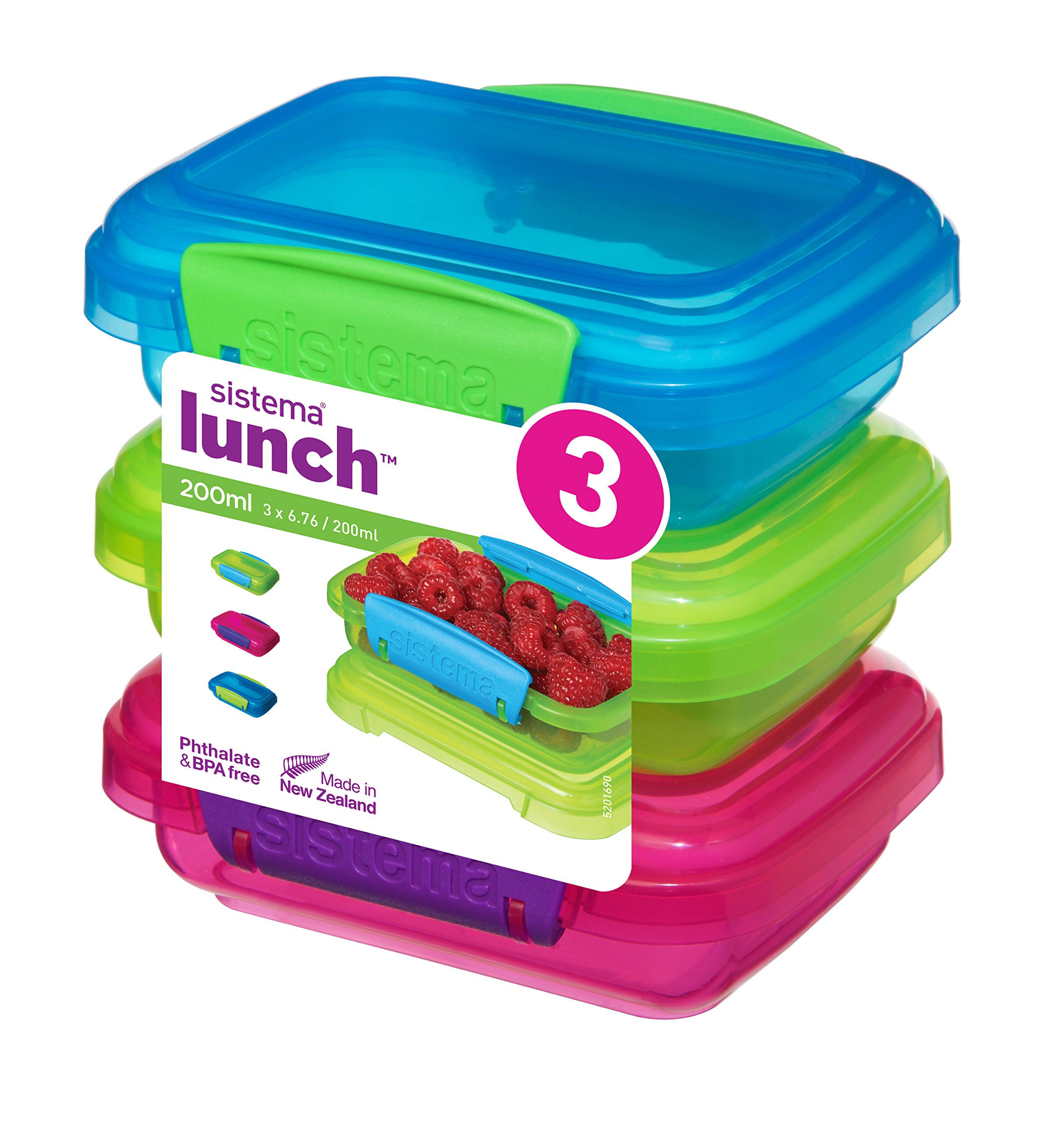 Sistema Lunch Collection Food storage containers, Blue, Green, Pink