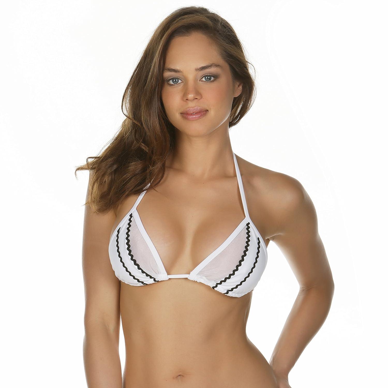 28d325ba21064 KKompany Sexy Brazilian Bikini See Through Top Swimwear Mesh Bra Separates Transparent  Sheer Triangle Cup (XLarge