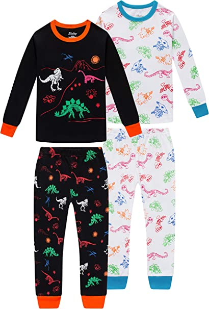 Pajamas for Boys Girls Glow in The Dark Dinosaurs Sleepwear Christmas Baby Clothes 4 Pieces Pants Set