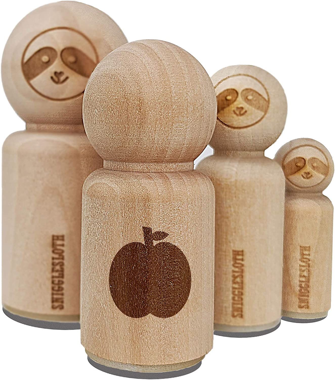 Apple Fruit Rubber Stamp for Stamping Crafting Planners - 1/2 Inch Mini