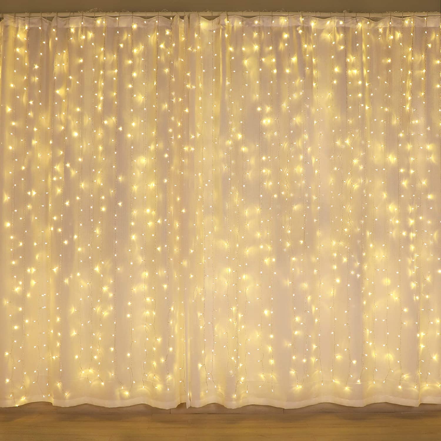 Amazon Com 300 Led Curtain Lights Twinkle Lights For Bedroom Wedding Decorations Wall Decor Lights For Teen Room Essentials For Girls Fairy String Lights Party Birthday Christmas Decorations Warm White Home Kitchen