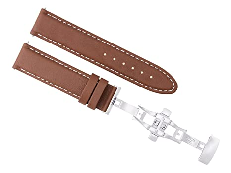 25dd806c1 Image Unavailable. Image not available for. Color: 18MM Smooth Leather  Strap Band Deployment Clasp Buckle for IWC Light Brown WS #2