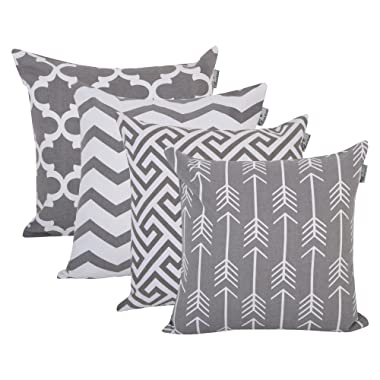 ACCENTHOME Square Printed Cotton Cushion Cover,Throw Pillow Case, Slipover Pillowslip for Home Sofa Couch Chair Back Seat,4pc Pack 18x18 in Grey Color