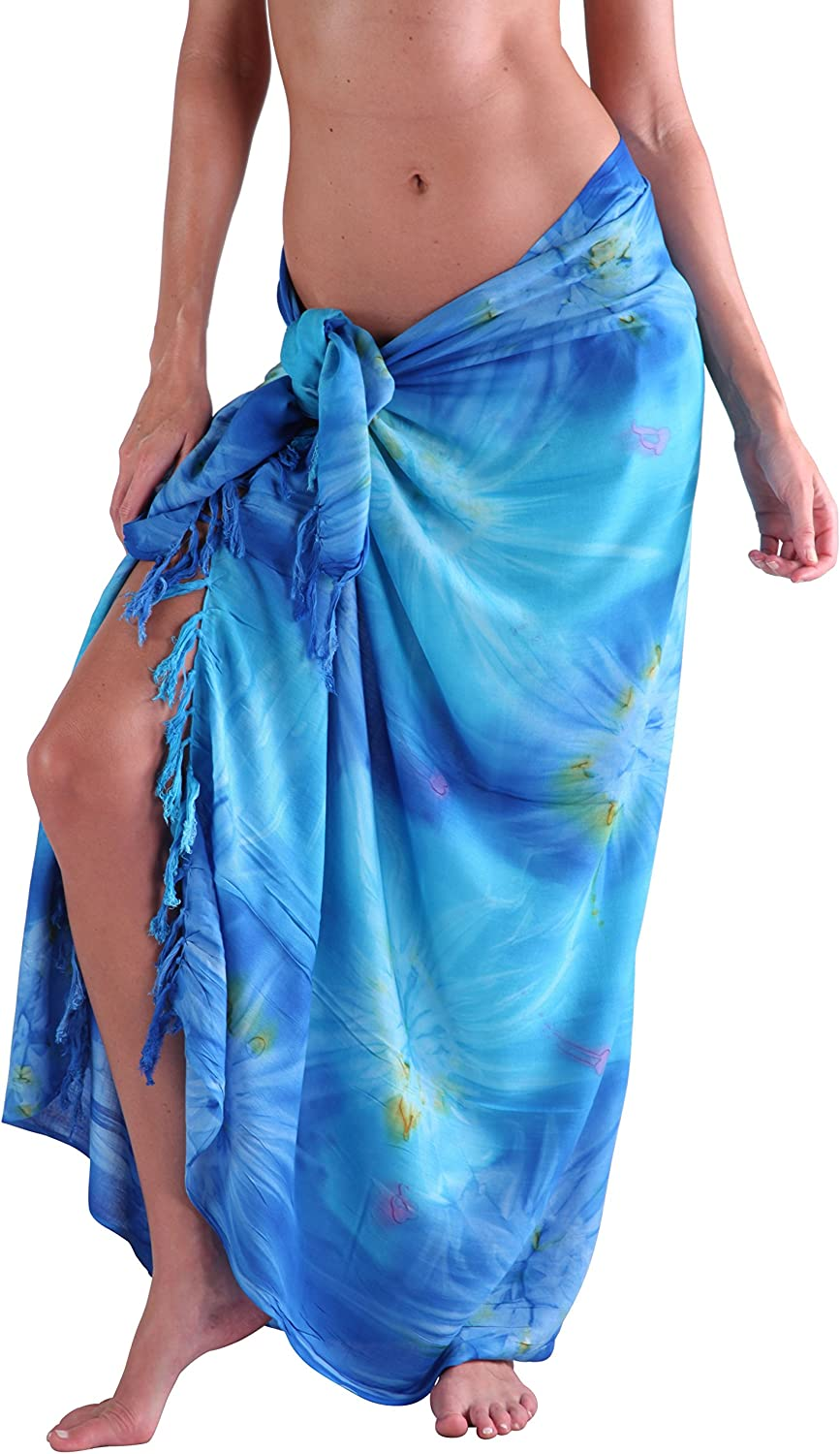 Ingear Beach Long Batik Sarong Womens Swimsuit Wrap Cover Up Pareo With Coconut Shell Included Blue At Amazon Women S Clothing Store