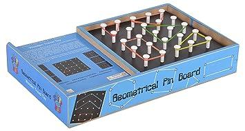 Skillofun Wooden Travel Toy - Geometrical Pin Board, Multi Color