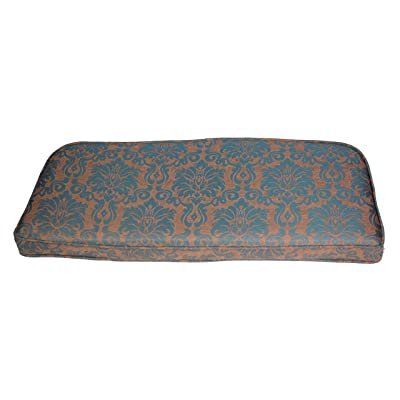 "Comfort Classics Inc. Outdoor Bench Cushion 41.5"" L x 18"" W x 2.5"" H. Polyester Fabric Blue/Beige Pattern : Garden & Outdoor"