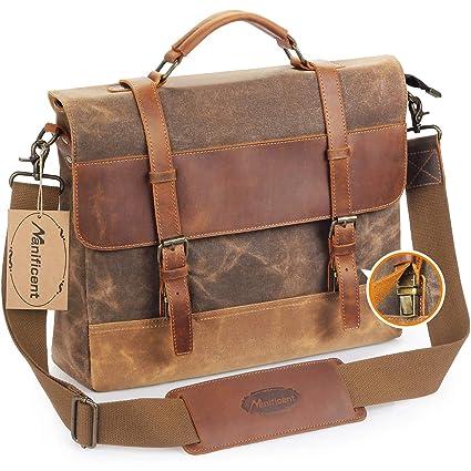 af326237bcce Manificent Men's Messenger Bag, 15.6 Inch Vintage Waxed Canvas Genuine  Leather Large Satchel Shoulder Bag Waterproof Canvas Leather Computer  Laptop ...