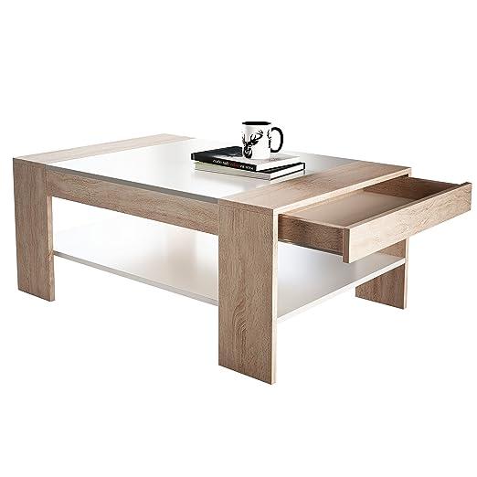 Newroom Couchtisch Wohnzimmertisch Weiss Holz Sonoma Eiche Braun