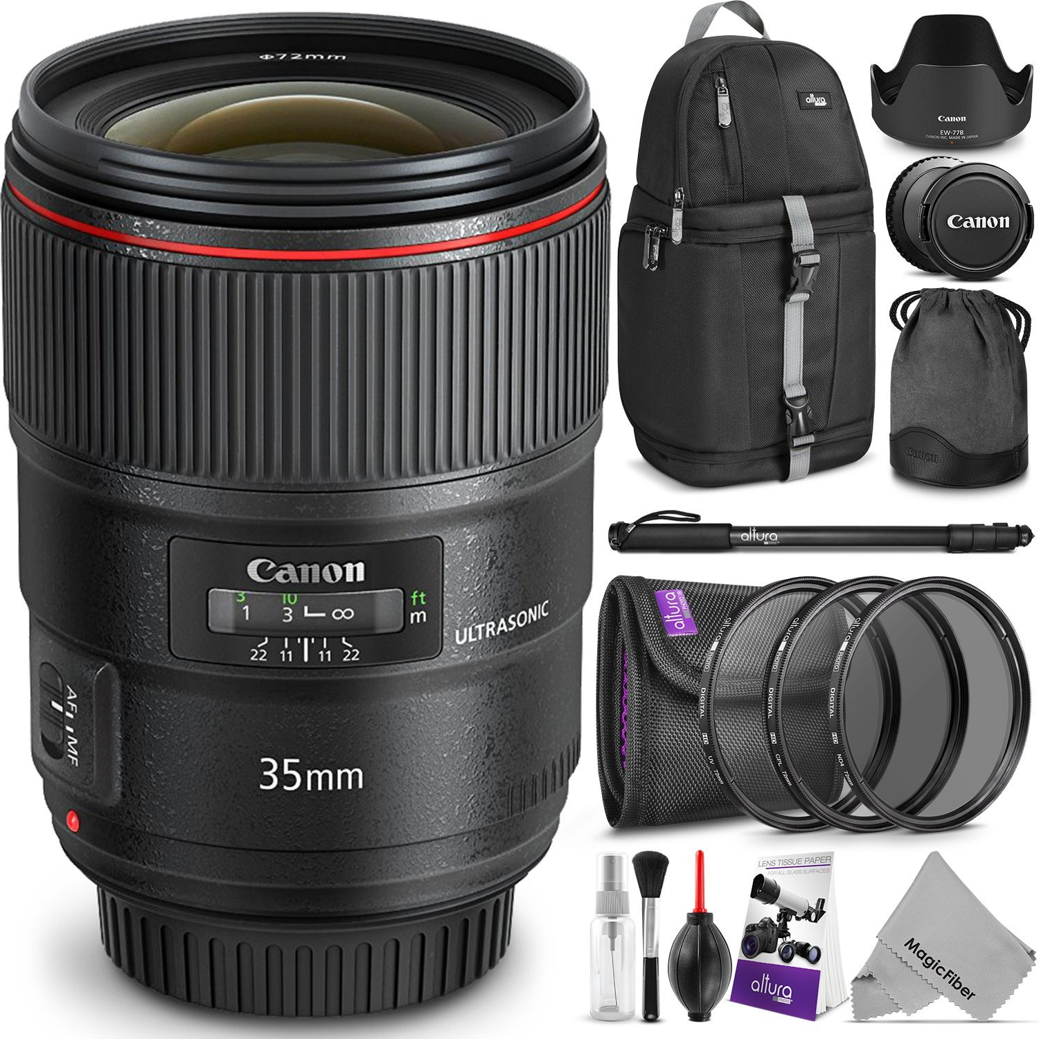 Canon EF 35mm f/1.4L II USM Lens w/Advanced Photo and Travel Bundle - Includes: Altura Photo Sling Backpack, Monopod, UV-CPL-ND4, Camera Cleaning Set