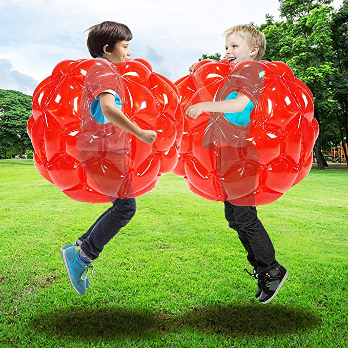 2pcs Durable PVC Wearable Ball 65*48cm Game Bumper Ball Bounce Sumo Suits Toys for Kids Adults Outdoor Play Blue Inflatable Body Ball