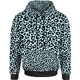 ad1e0715c36d Flip Womens Leopard Animal Print Zip Up Hooded Top Hoodie UK 8 (XS ...