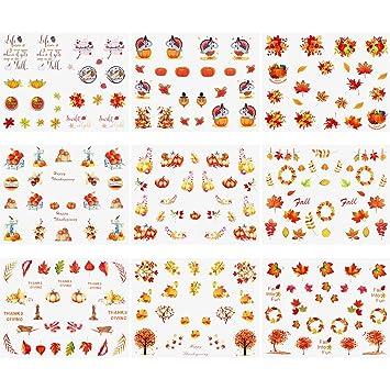 Amazon Jetec 18 Sheets Thanksgiving Nail Art Stickers Autumn