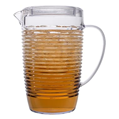 Break Resistant Clear Plastic Pitcher with Lid for Iced Tea, Sangria, Lemonade (81 fl oz. - 2.5 quarts)