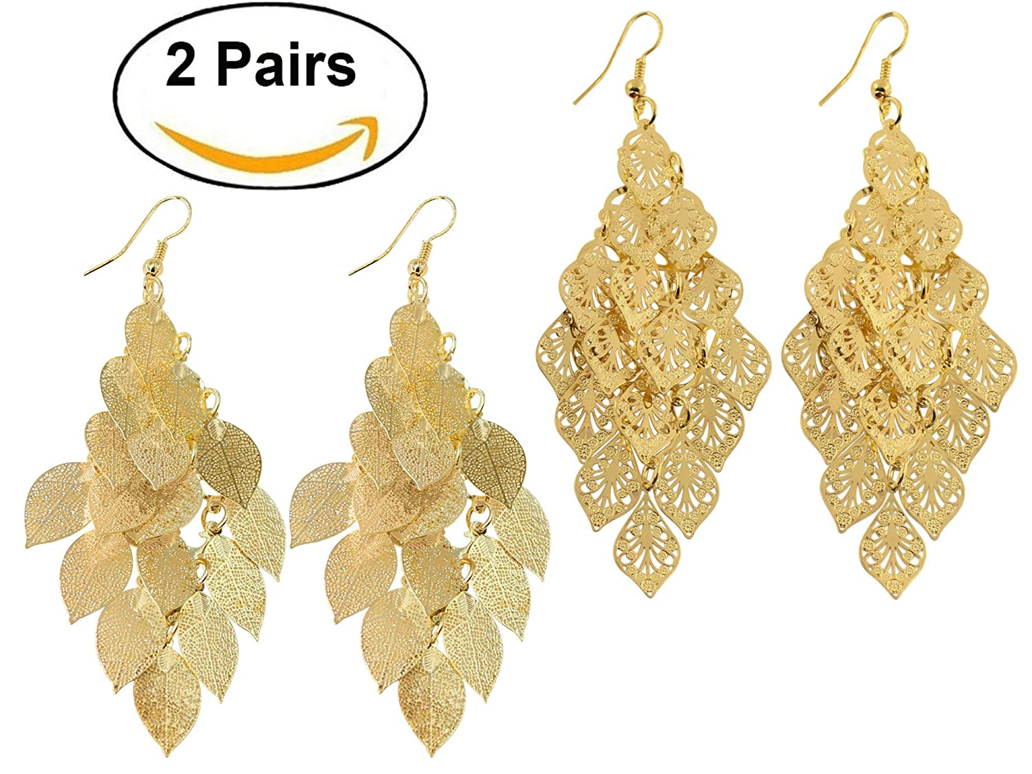 2 Pairs Fashion Dangling Filig...