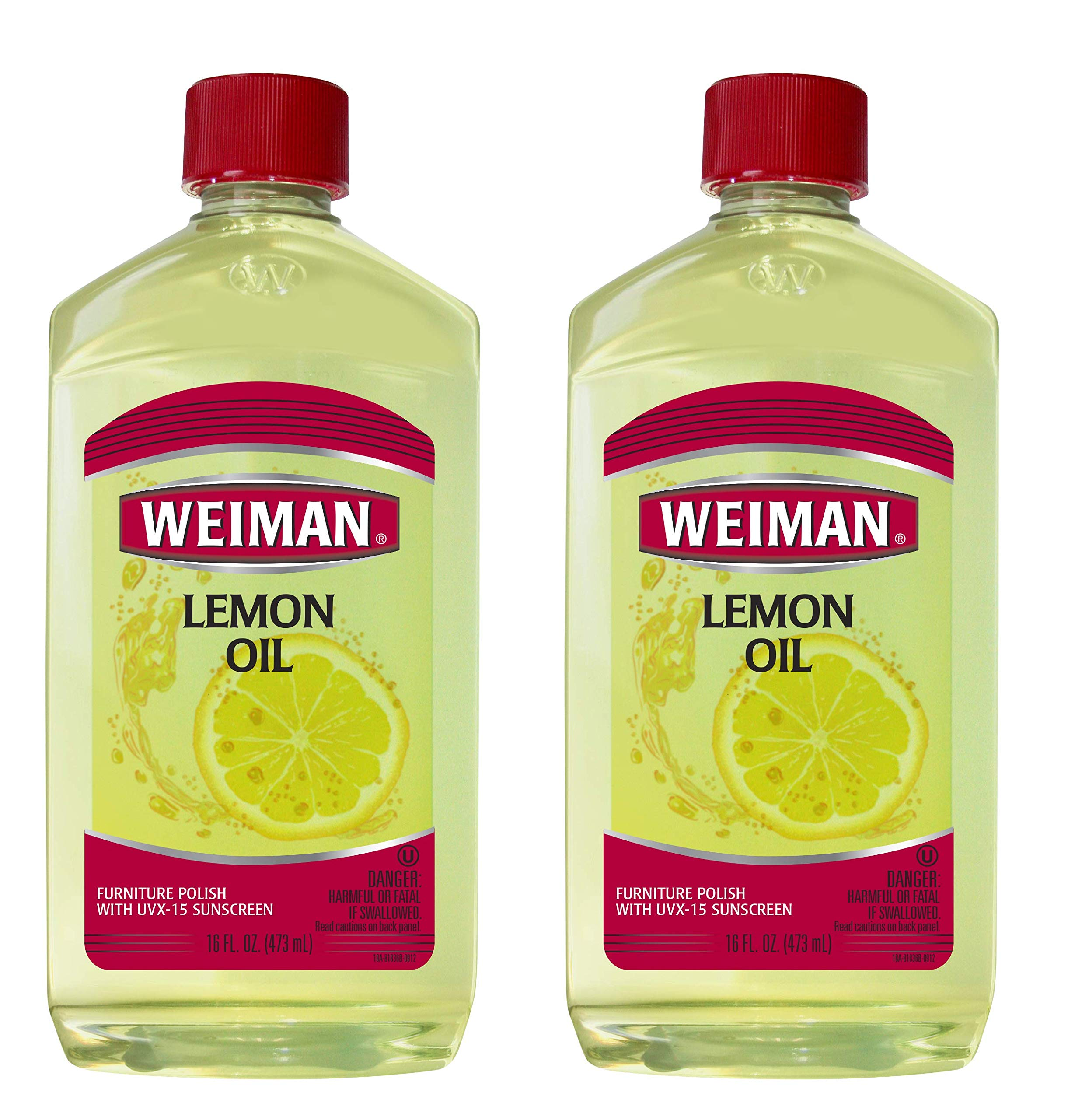 Weiman Lemon Oil Wood Polish [2 Pack] 16 Fluid Ounce - UV Protection, Gently Cleans, Protects, Moisturizes, Restores and Conditions Wood by Weiman (Image #1)