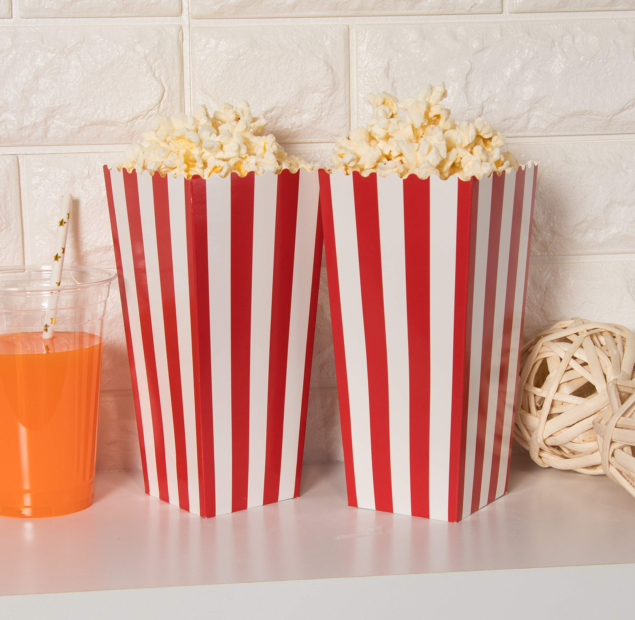 Set of 100 Popcorn Favor Boxes - Paper Popcorn Containers, Popcorn Party Supplies for Movie Nights, Movie-Themed Parties, Carnival Parties, Pirate Party, Red and White - 3.7 x 7.8 x 3.7 Inches by Blue Panda (Image #2)