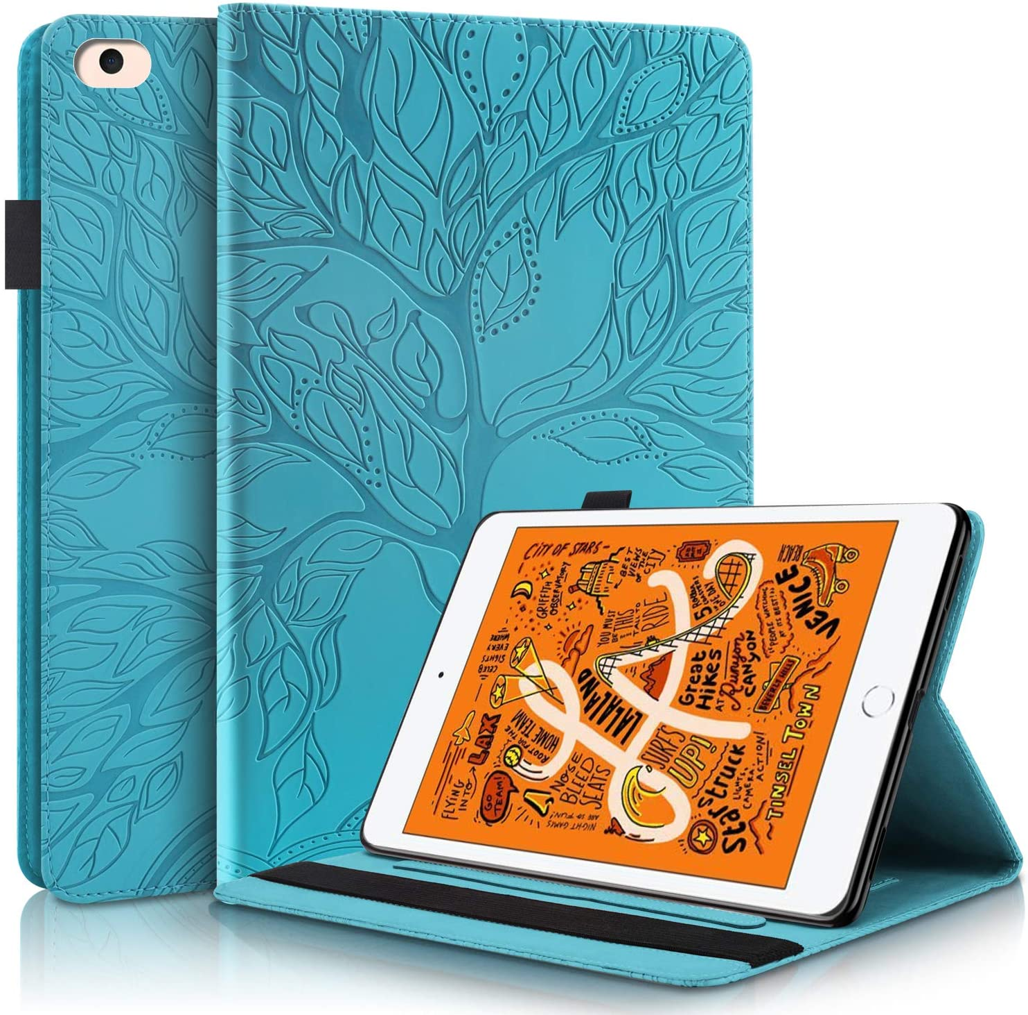 Pefcase iPad Mini 6 Case, iPad Mini 1/2/3/4/5th Generation Cover, Multi-Angle Viewing Folio Smart PU Leather Cover with Auto Sleep/Wake for Apple iPad Mini 7.9 inch Life Tree - Turquoise