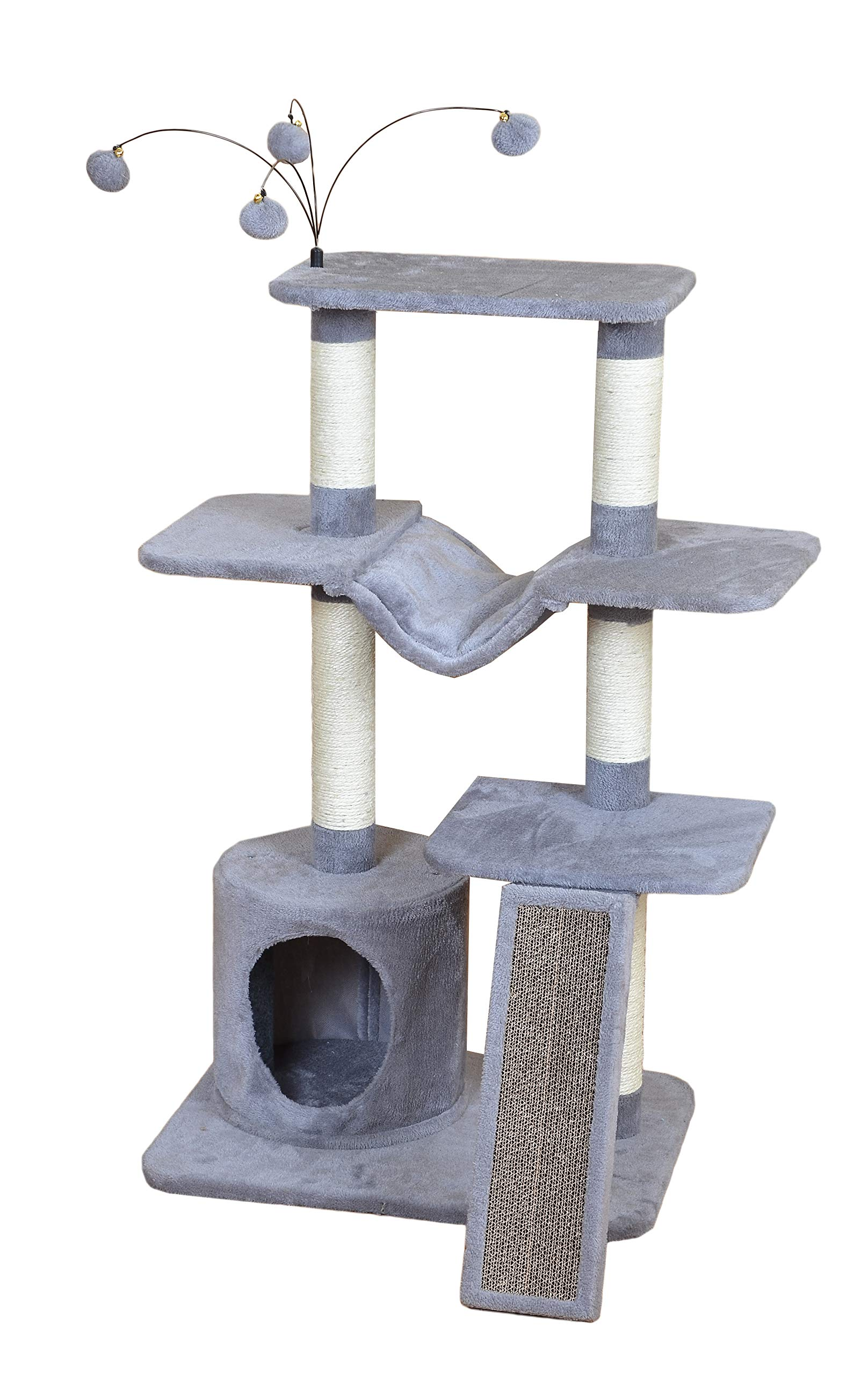 Catry Four-Level Cat Tree Condo Gray with Natural Sisal Scratching Posts, Teasing Toys, Scratching Pad by Catry