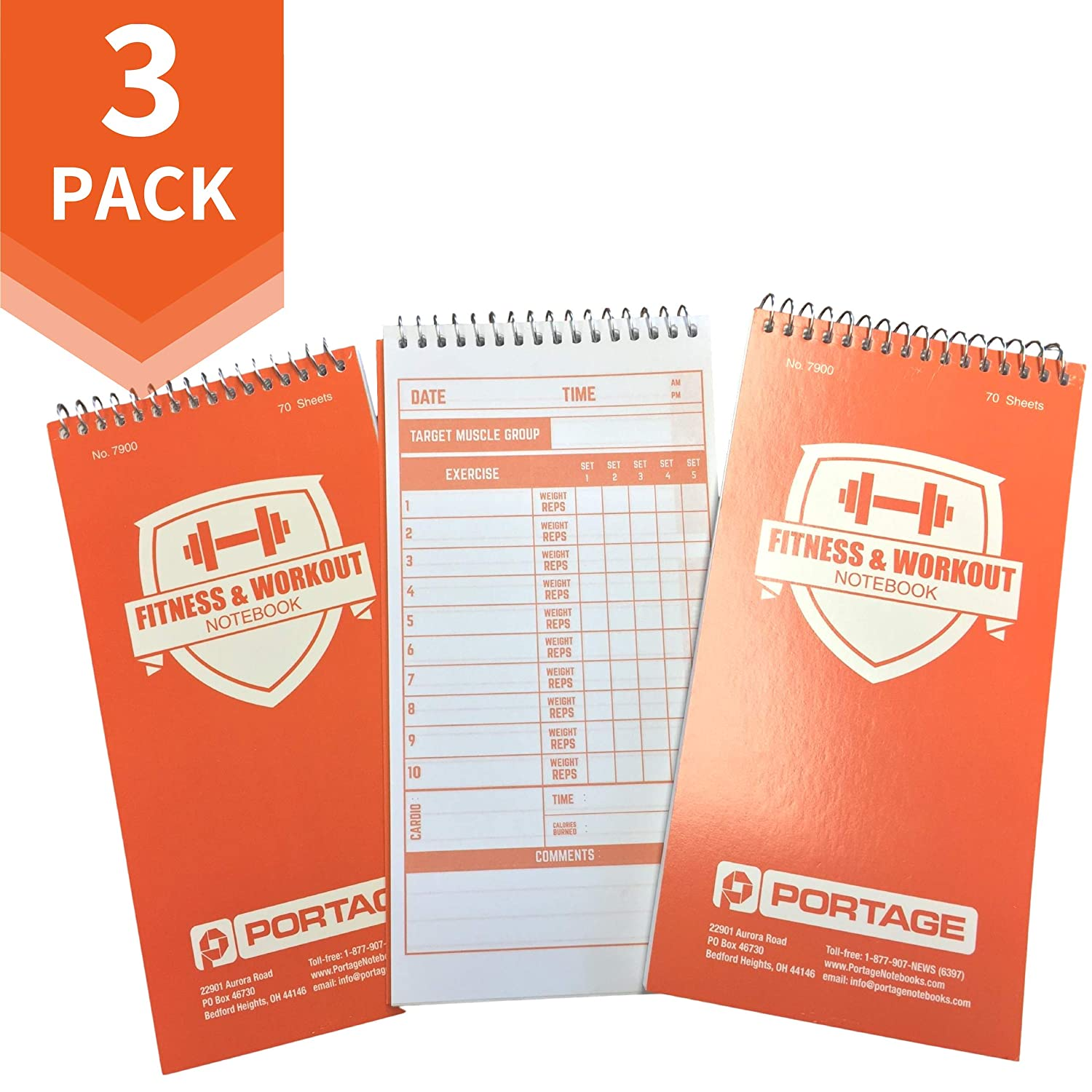 """3 Pack Portage Fitness and Workout Notebook 140 Pages 4/"""" x 8/"""" Sturdy Exercise Journal for Planning and Tracking Workouts to Achieve Your Fitness Goals"""