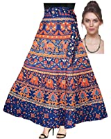 ESHOPITUDE COMBO 100% COTTON JAIPURI WRAP AROUND SKIRT WITH CZ DARK SILVER PLATED SNAKE CHAIN NECKLACE