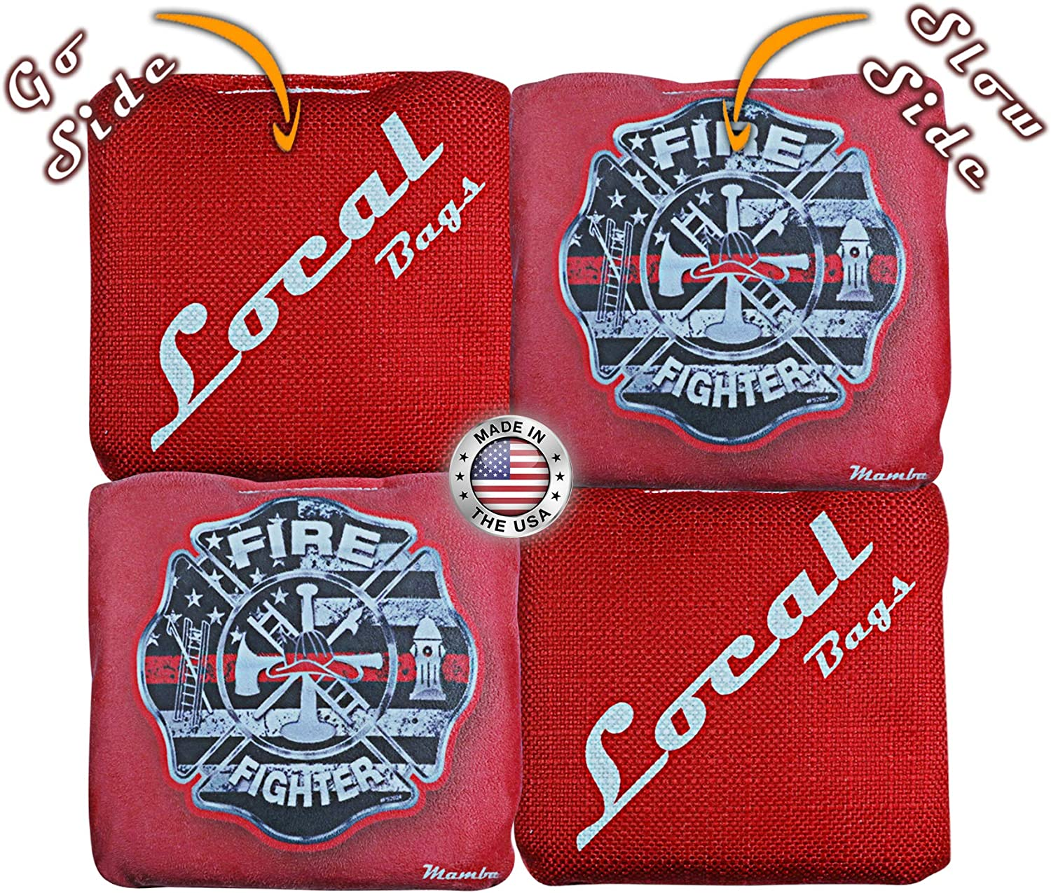 Double Sided Sticky Side//Slick Side Made in USA Local Bags Cornhole Set of 4 Bags- ACL Approved Resin Filled Mamba Series