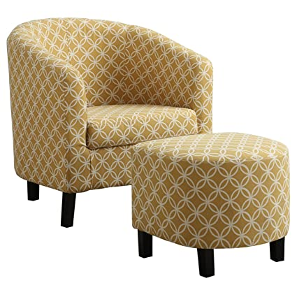 Monarch Specialties Burnt Yellow Circular Fabric Accent Chair/Ottoman,  30 Inch