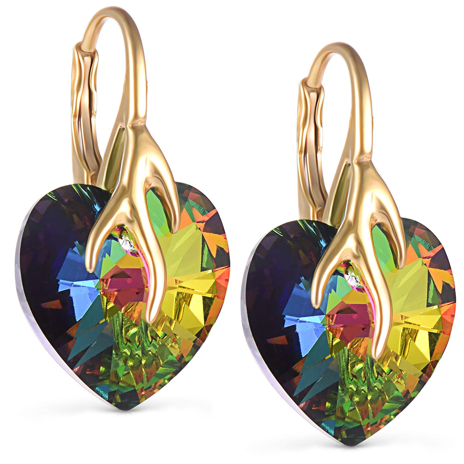 2e2d1f34631a 18ct Gold Finish Drop Dangle Earrings with Swarovski Multicolour Heart  Crystals Trendy Stylish Fashion Birthday Christmas Gift  Amazon.co.uk   Jewellery