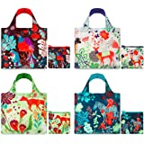 LOQI Forest Collection Pouch Reusable Bags, Multicolored, Set of 4