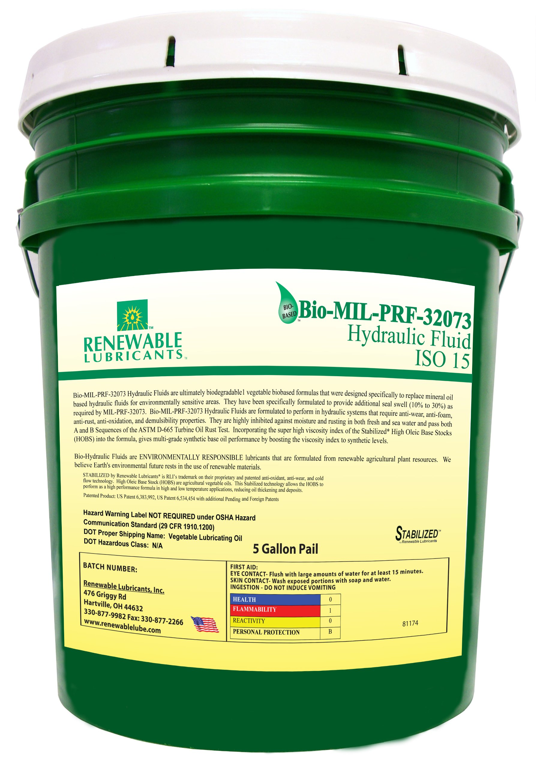 Renewable Lubricants Bio-MIL-PRF-32073 ISO 15 Hydraulic Fluid, 5 Gallon Pail by Renewable Lubricants