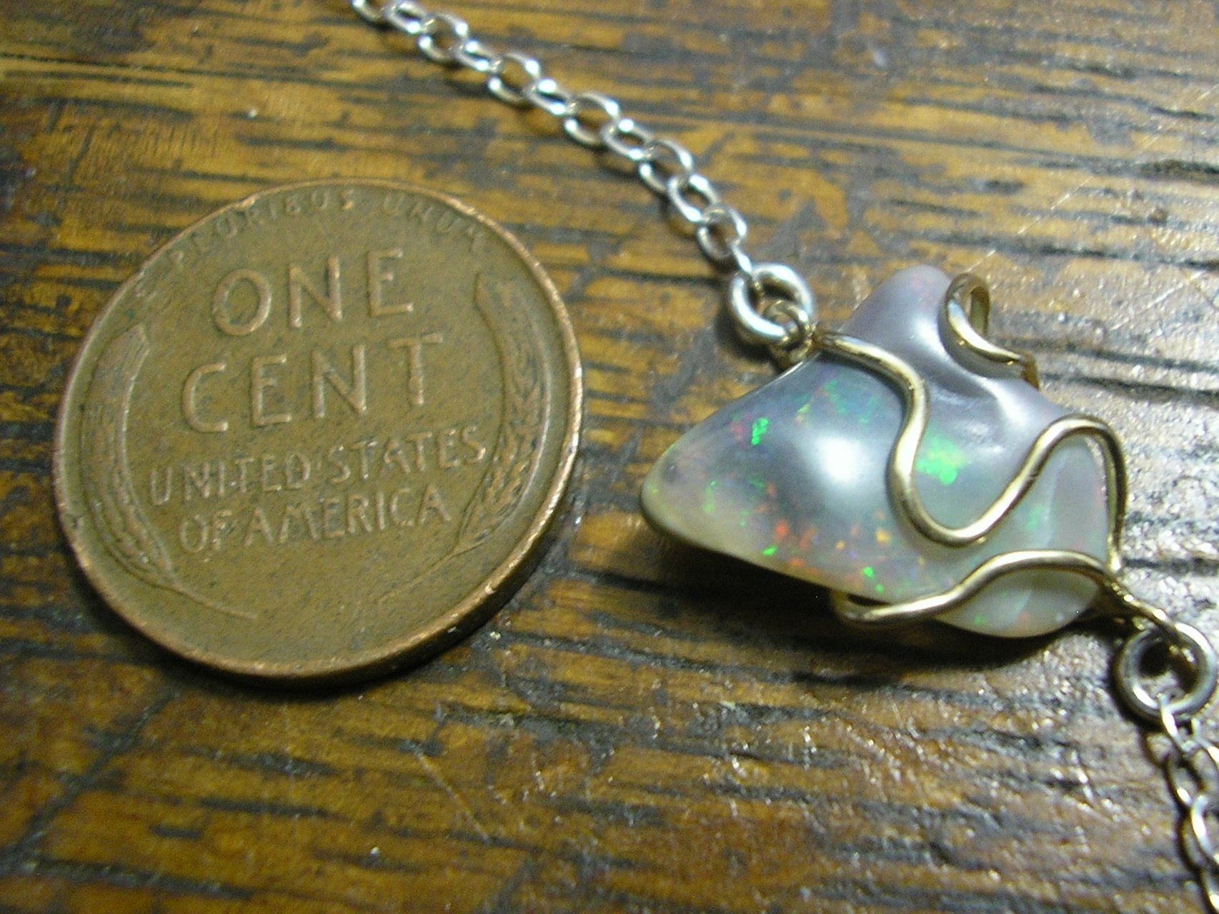 OPAL Necklace, Sterling Silver & 14k Gold, 17.5'' Chain, Natural Crystal, Australian Opal Nugget