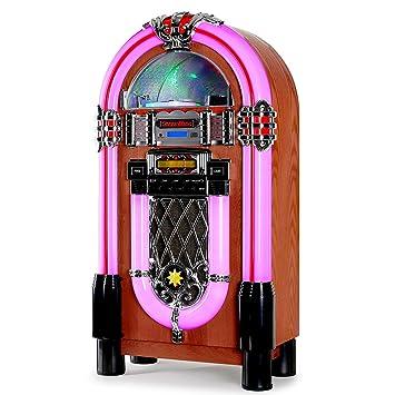 AUNA Graceland XXL Jukebox Vintage - Rockola Discos , MP3 , CD , AUX , Radio FM , Puerto USB , 100 W MAX