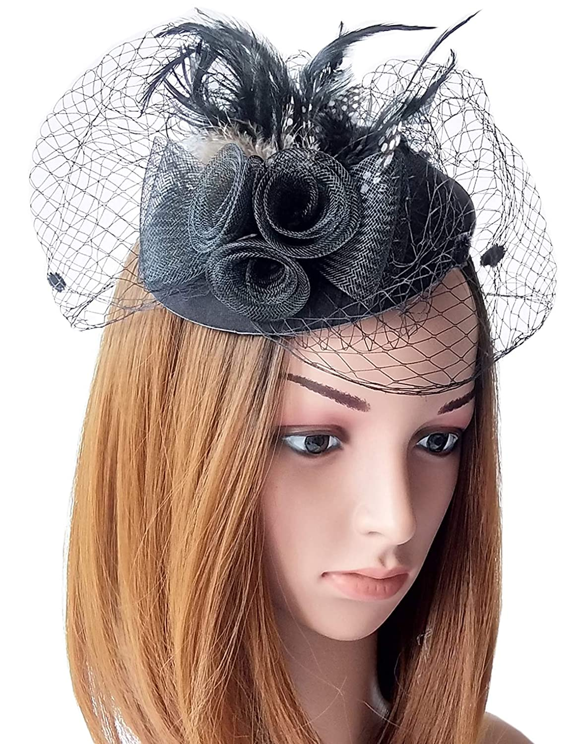 Coolwife Womens Fascinators Hat Pillbox Hat British Bowler Hat Flower Veil  Wedding Hat Tea Party Hat 4cd754212331