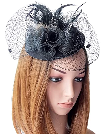 11732b43d11 Coolwife Fascinator Womens Pillbox Hat British Bowler Hat Flower Veil Wedding  Hat Tea Party Hat (