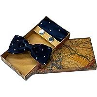 Blacksmith Polka Navy Tie, Bowtie, Cufflink, Pocket Square Set for Men