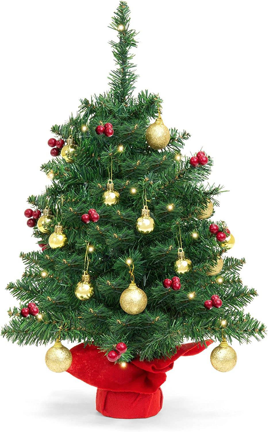 amazon com best choice products 22 inch pre lit battery operated tabletop mini artificial christmas tree decor w led lights red berries gold ornaments green home kitchen best choice products 22 inch pre lit battery operated tabletop mini artificial christmas tree decor w led lights red berries gold ornaments green