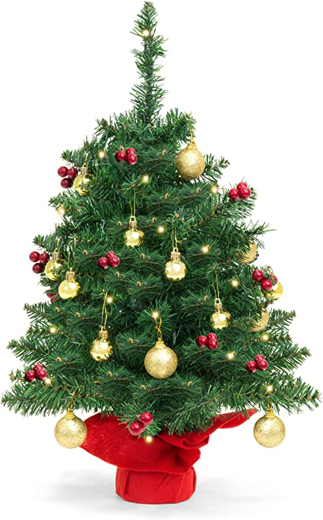 Amazon Com Best Choice Products 22 Inch Pre Lit Battery Operated Tabletop Mini Artificial Christmas Tree Decor W Led Lights Red Berries Gold Ornaments Green Home Kitchen
