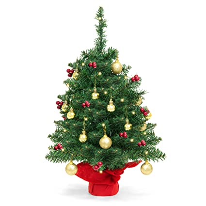 Best Choice Products 22in Pre Lit Battery Operated Tabletop Mini Artificial Christmas Tree Decor W Ul Certifed Led Lights Red Berries Gold